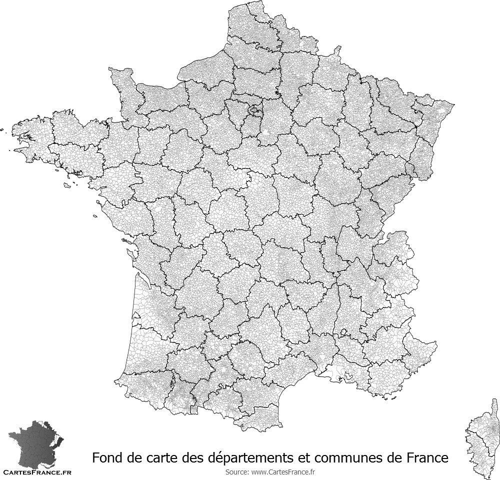 carte des communes de france Fond de carte des départements et communes de France | Fond de