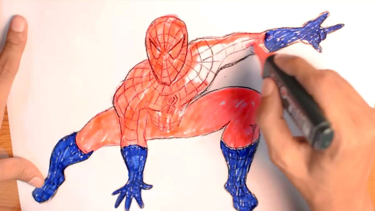 Spiderman Coloring Pages For Kids And How To Color Spiderman A Video For Toddler Coloring Book Spiderman Coloring Coloring Books