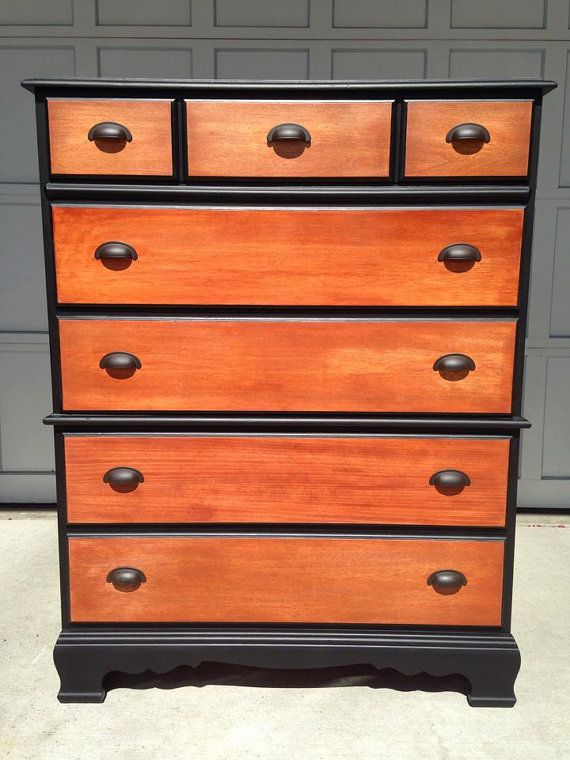 Sold Black And Tan Two Tone 60 S Bett Colonial Dresser