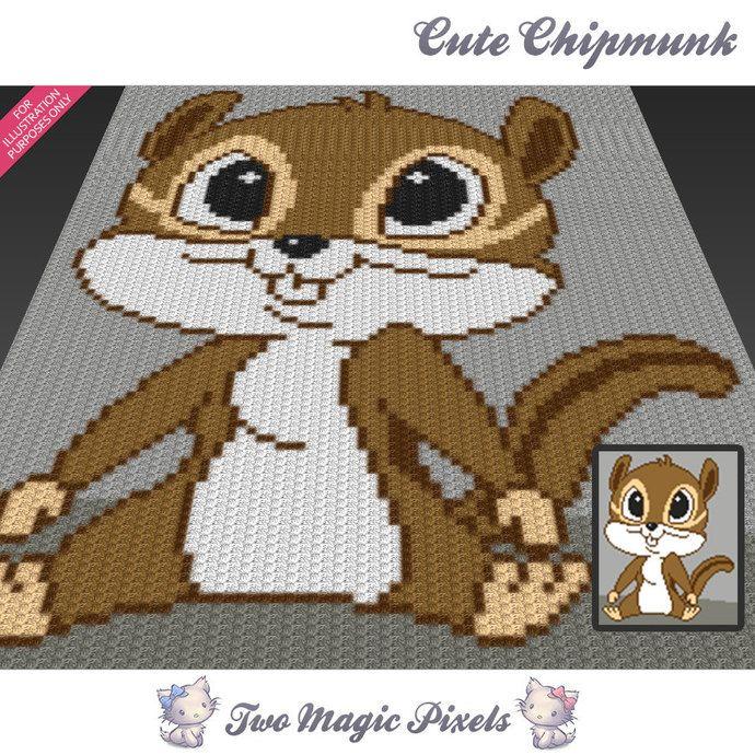 Cute Chipmunk c2c graph crochet pattern; instant PDF download; baby ...