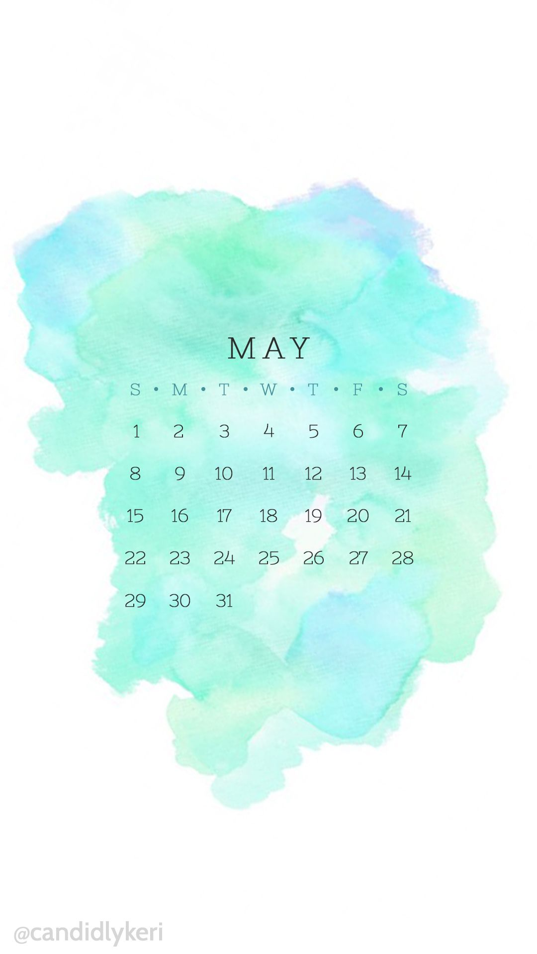 Calendar Wallpaper May : Blue turquoise and green may calendar wallpaper free