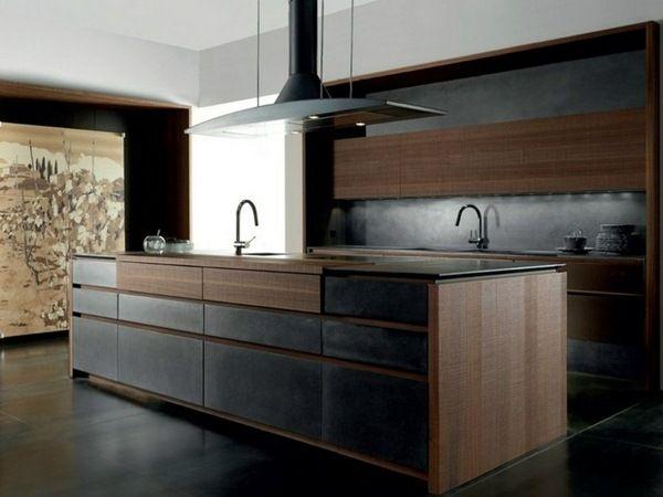 modern kitchen cabinet fine concrete dark wood fronts structured - häcker küchen münchen