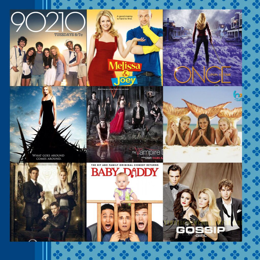 90210, Melissa and Joey, Once Upon A Time, Revenge, The Vampire Diaries, H2O, The Originals, Baby Daddy, and Gossip Girl-----------All my favorite shows!!!