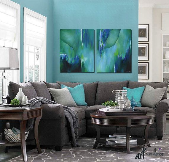 Teal Wall Art Large Abstract Painting Canvas Art Print Set Etsy In 2021 Living Room Grey Living Room Inspiration Living Room Color