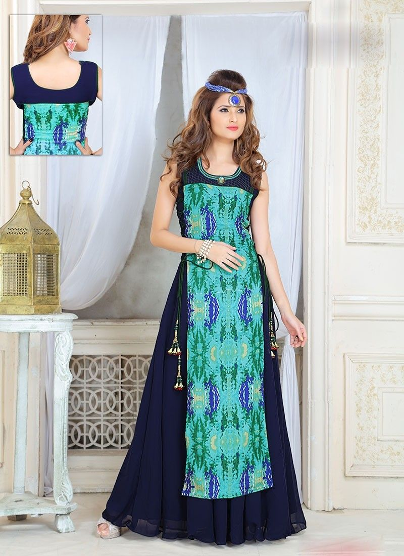 61058e7d21e2 Shop Blue Turquoise Rayon Georgette  LongGown  chennaistore online shopping.  Yellow long gown type dress ...