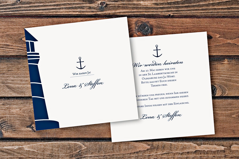 Hochzeitskarten Save the Date Karte – 2 Seiter quadratisch