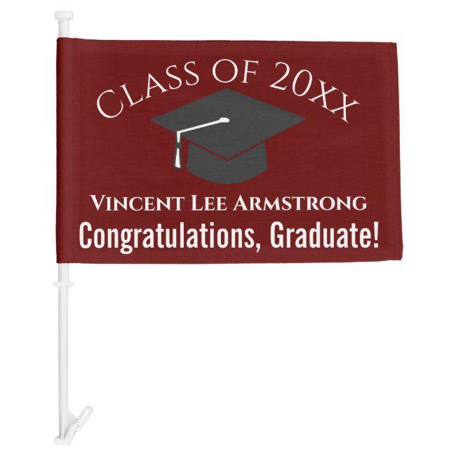 Class Of Congratulations Graduate Maroon White Car Flag Ad Ad Maroon Amp White Graduate In 2020 Congratulations Graduate Congratulations Car Flags