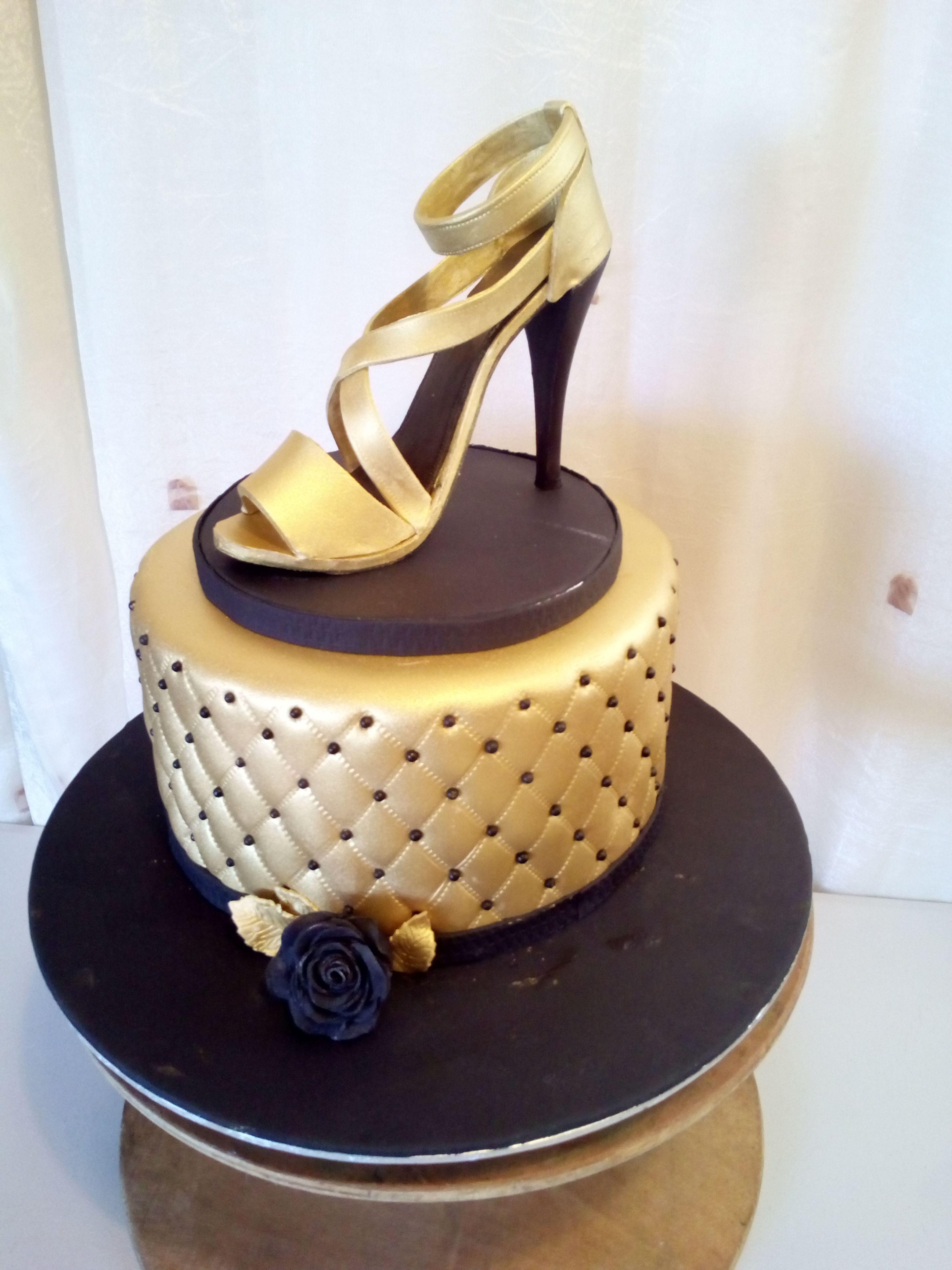 Surprising Gold And Black Stiletto Birthday Cake 50Th Birthday Cake For Funny Birthday Cards Online Kookostrdamsfinfo