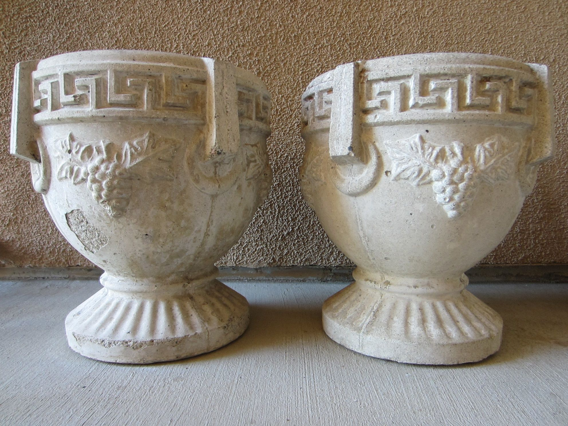 Cement Monumental Garden Planters Greek Design Grape Vine Sculptural Pedestal Urns Urn Planters Urn Cement Planters