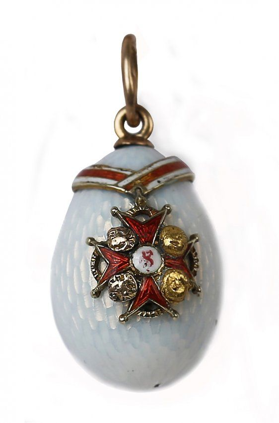 Faberge  miniature gold and enamel egg pendant