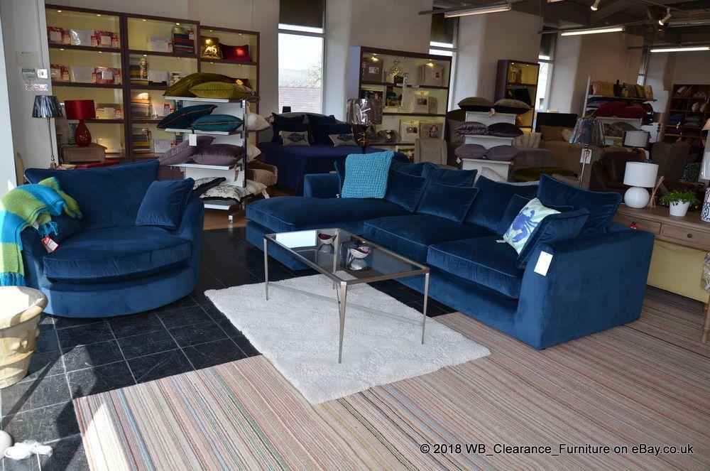 Bossanova 4 Seater Corner Sofa Chaise Swivel Cuddle Chair Blue Velvet Rrp 3728 Corner Sofa Chaise Corner Sofa Sofa Design