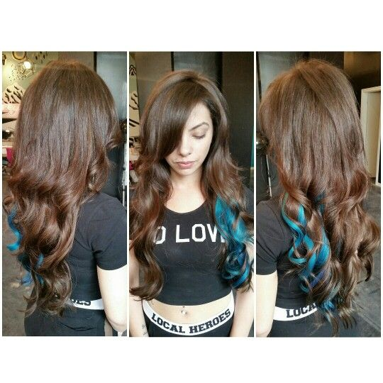 """20"""" Tape Hair Extensions To Add Volume, Length and color #terquoise #terquoisehair #hair #longhair #tapeextensions #style #hairextensions #curls #haircolor #tapehairextensions"""