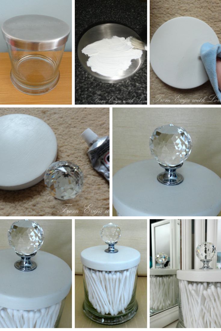 DIY cotton but/q tip holder - make your own out of an empty candle