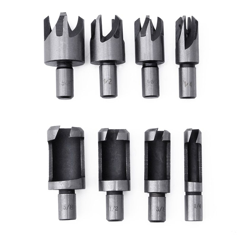 8pcs Carbon Steel Wood Plug Hole Cutter Drill Bit 10mm 5 8 1 2 3 8 1 4 Bsp Apr 09 8pcs Carbon Steel Wood Plug Hol Wood Plugs Drill Bits Carbon Steel