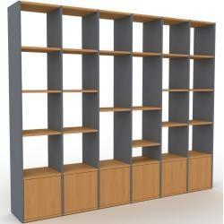 Photo of Regalsystem Anthrazit – Flexibles Regalsystem: Türen in Eiche – Hochwertige Materialien – 233 x 195