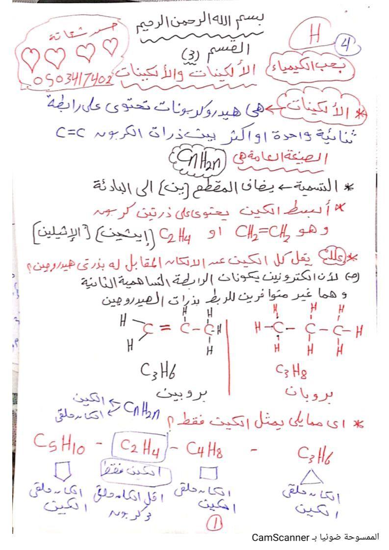 الكيمياء شرح الألكينات للصف الثاني عشر Bullet Journal Journal