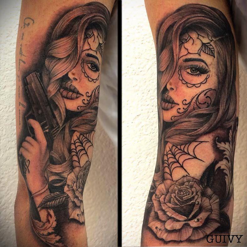 6caf20c99d74c GUIVY Tattoo - Art For Sinners - GENEVA #catrina #tattoo #gangsta #girl