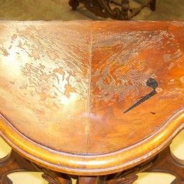 refinishing water damage on a table top | furniture refinishing