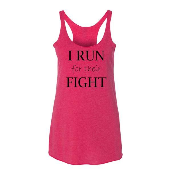 Womens Activewear, Running Shirts. I Run For Their Fight Breast Cancer Awareness Inspirational Tank. Running and Workout Apparel. Visit FreckledFit.net to purchase