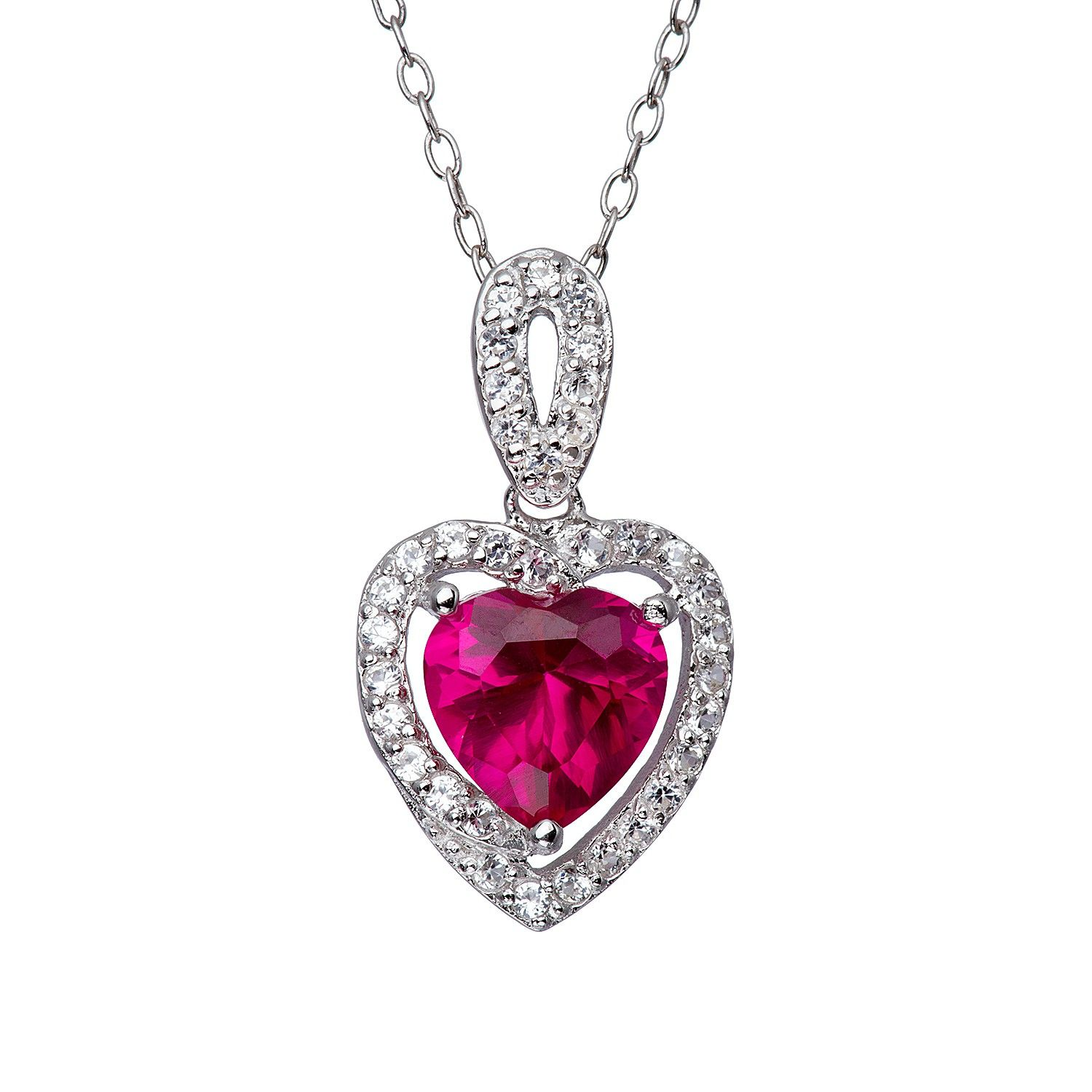 Halo Ruby and Sapphire Heart Shaped Pendant in Sterling Silver ...