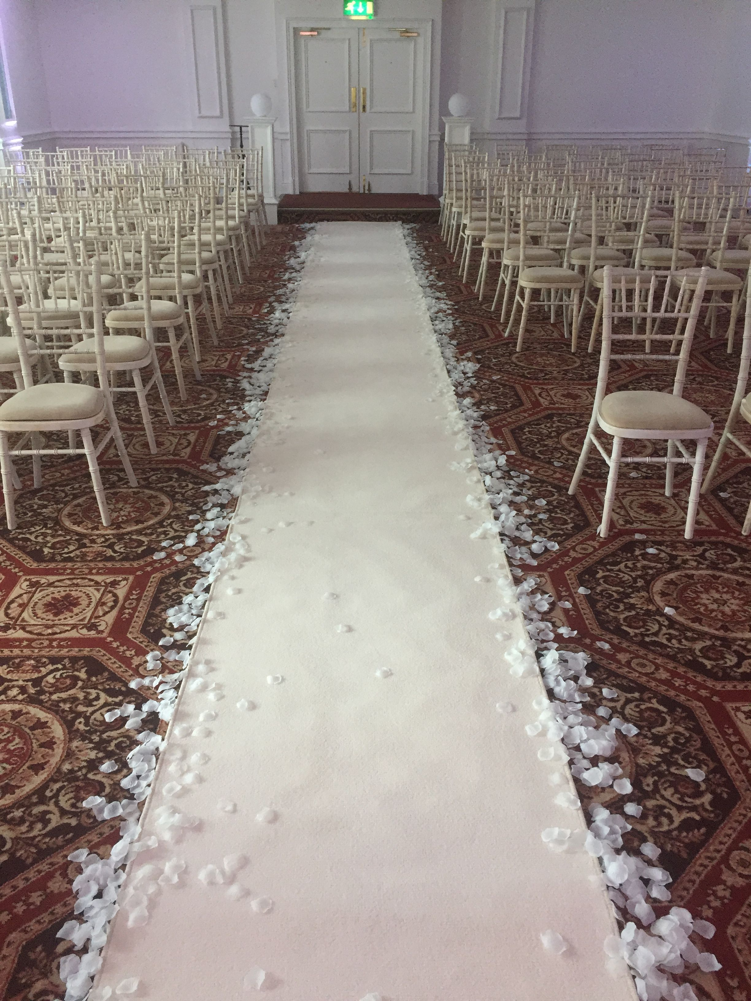 Indoor White Carpet With Petals On Sides For Rentals For Hire In Sydney Available At Hostev Indoor Roses Aisle Runner Wedding Indoor Wedding Ceremonies