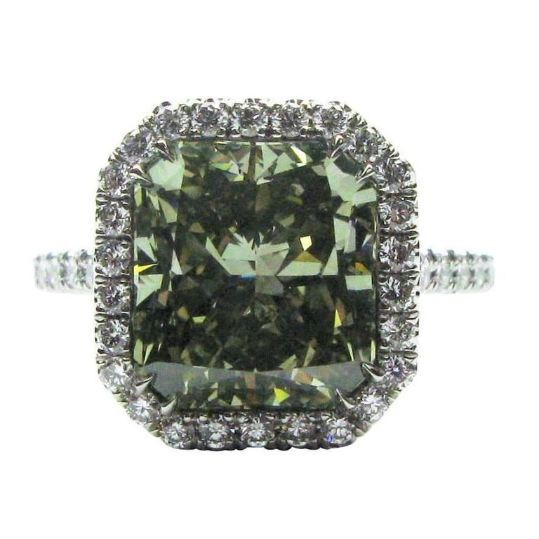 5.03 Carat Fancy Radiant Frame Ring | From a unique collection of vintage engagement rings at https://www.1stdibs.com/jewelry/rings/engagement-rings/