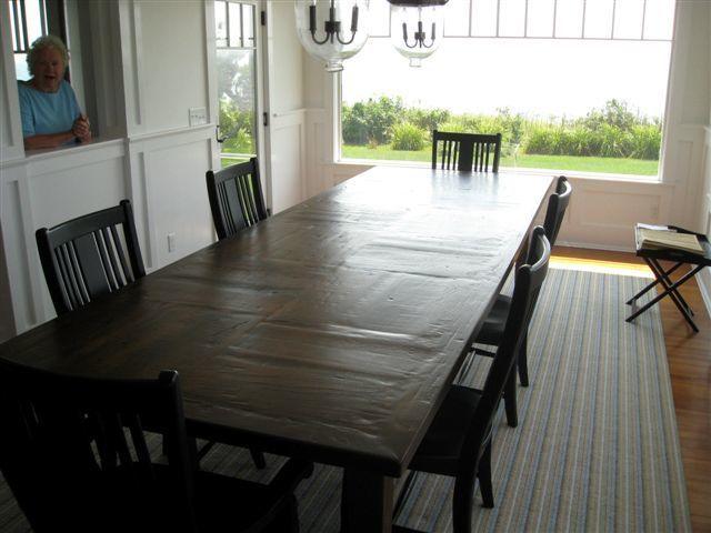 Custom Rustic 12ft Farmhouse Table With Custom Inlay For Coastal Home In Cape Cod Made From Reclaimed O Rustic Oak Dining Table Oak Dining Table Dining Table