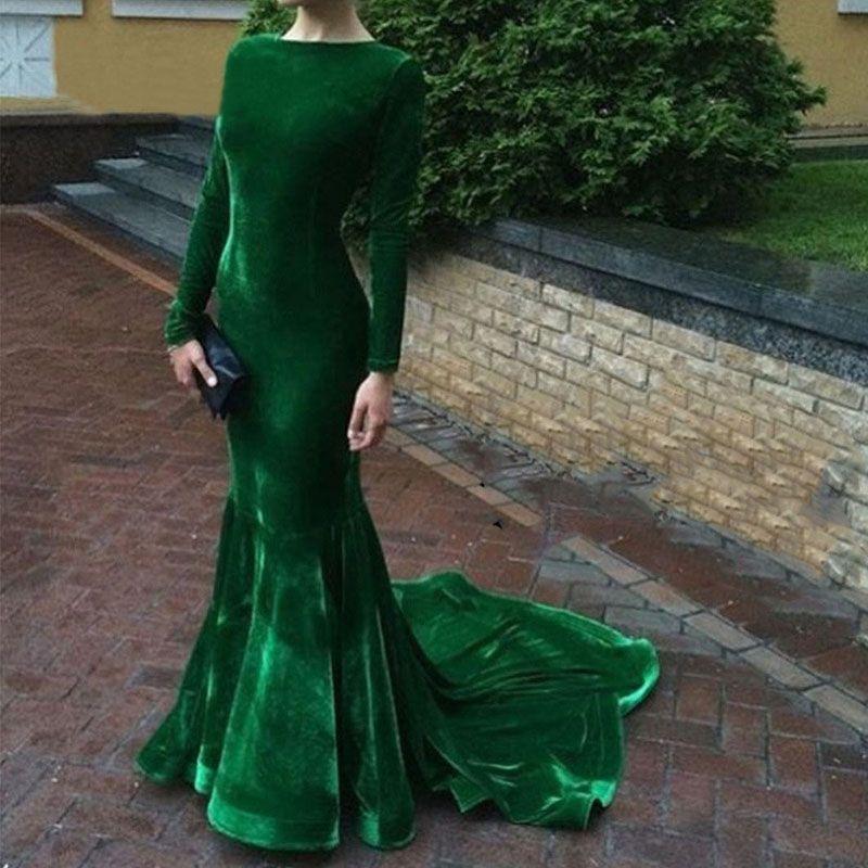 Vestido sereia verde musgo