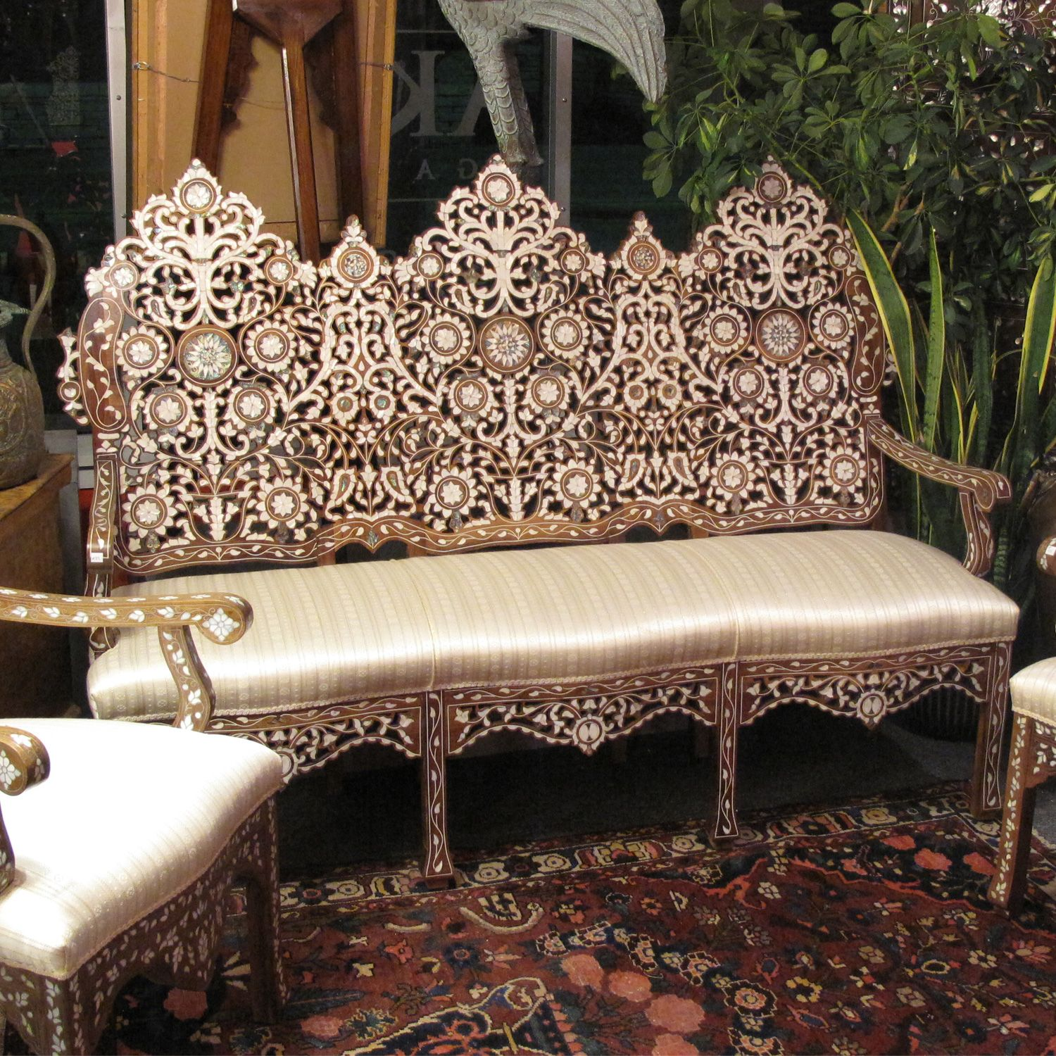 Moroccan Sofa Design 90 Inch Slipcover Style 1106 Syrian Damascene Inlaid