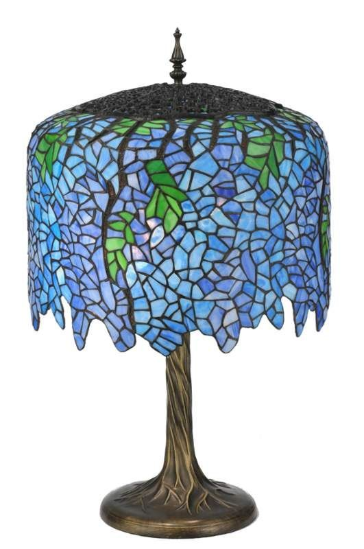 Meyda Tiffany 118689 Wisteria 2 Light 28 Tall Hand Crafted Table Lamp W Mahogany Bronze Lamps Accent