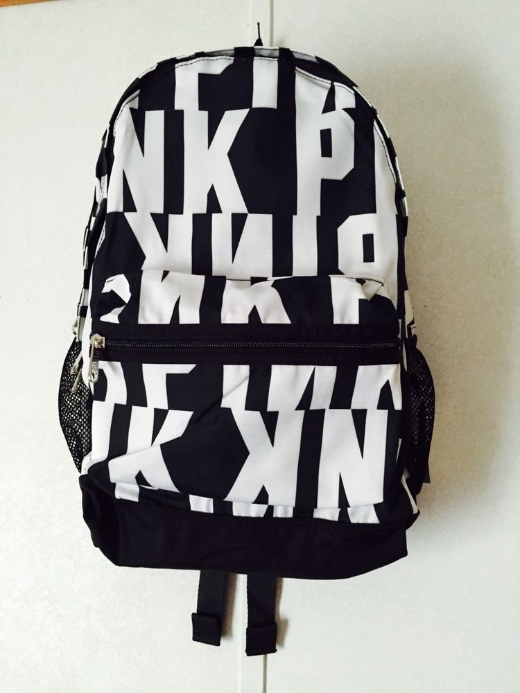 4a4d0fc0241b Victoria s Secret PINK CAMPUS BACKPACK BOOKBAG TOTE Black White Graphic BNIP!   VictoriasSecret  Backpack