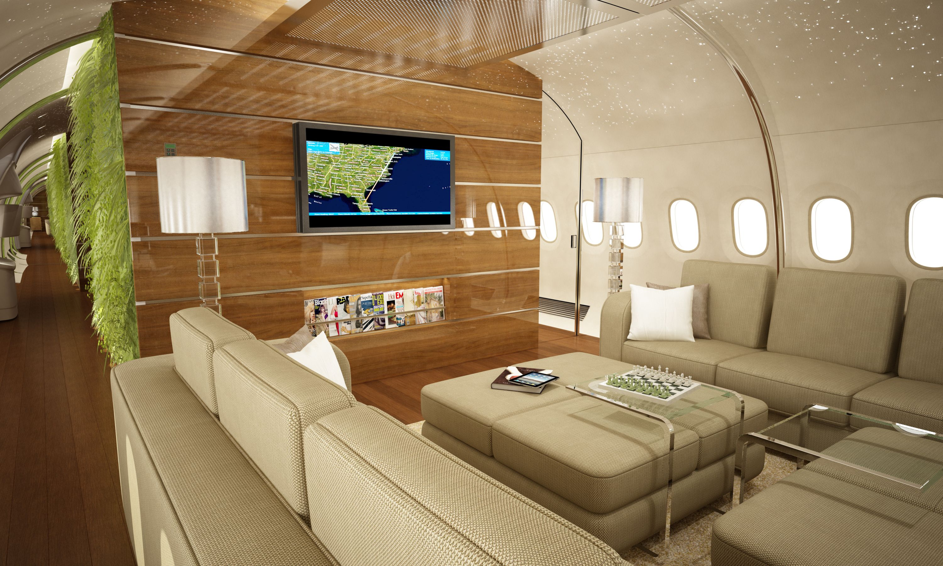 Private jet interior furnished like a vintage train aviation - Find This Pin And More On Private Jet Interiors