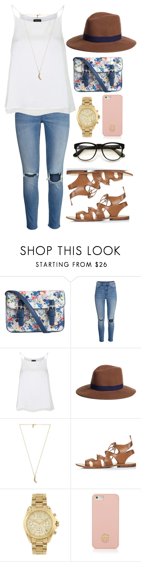 """""""Untitled #75"""" by sydneyalexandra ❤ liked on Polyvore featuring Pieces, H&M, Topshop, Brooks Brothers, Rebecca Minkoff, Michael Kors, Tory Burch and Wildfox"""