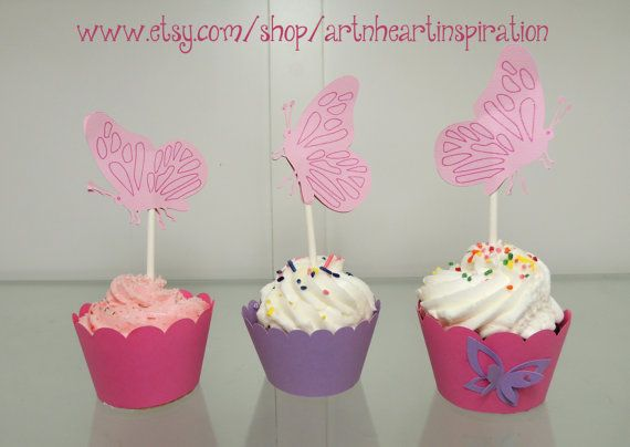 Butterfly Cupcake Wrappers & Toppers by artnheartinspiration, $12.00