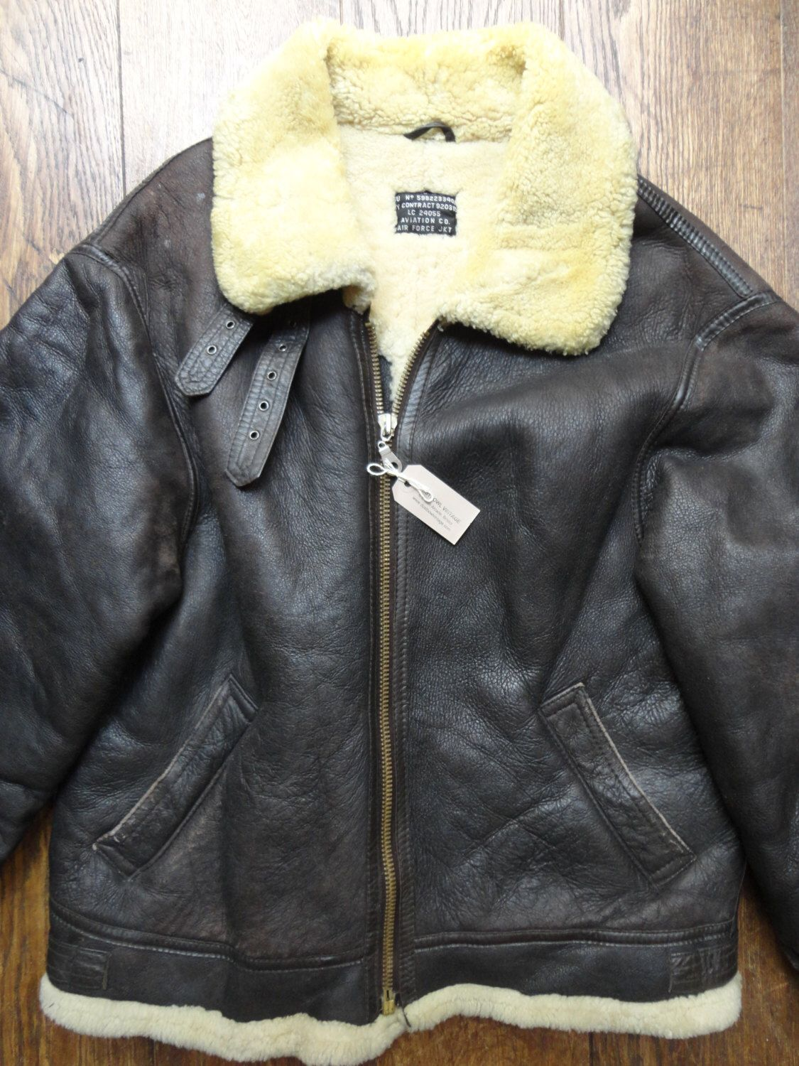 Leather WW2 Bomber Jacket - Air Force Vintage - Rare - Sheepskin ...