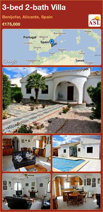 3-bed 2-bath Villa in Benijofar, Alicante, Spain ►€175,000 #PropertyForSaleInSpain