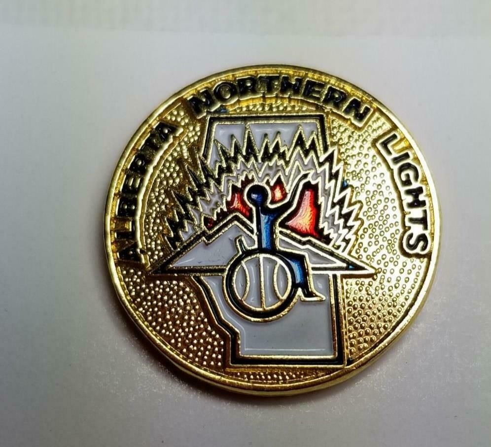 Alberta Northern Lights Wheelchair Basketball Lapel Hat Pin 1646 In 2020 Hat Pins Gold Hats Lapel