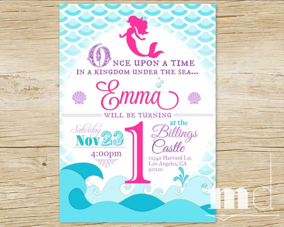 Little Mermaid Party Invitation Mermaid Birthday Party Scales