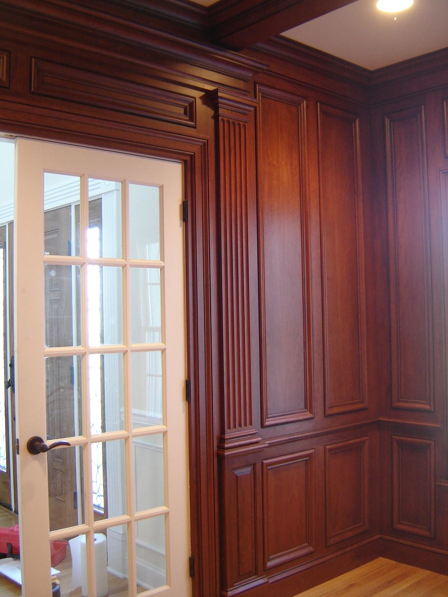Wood Paneled Library: Custom Made Cherry Paneled Library With Bookcases By