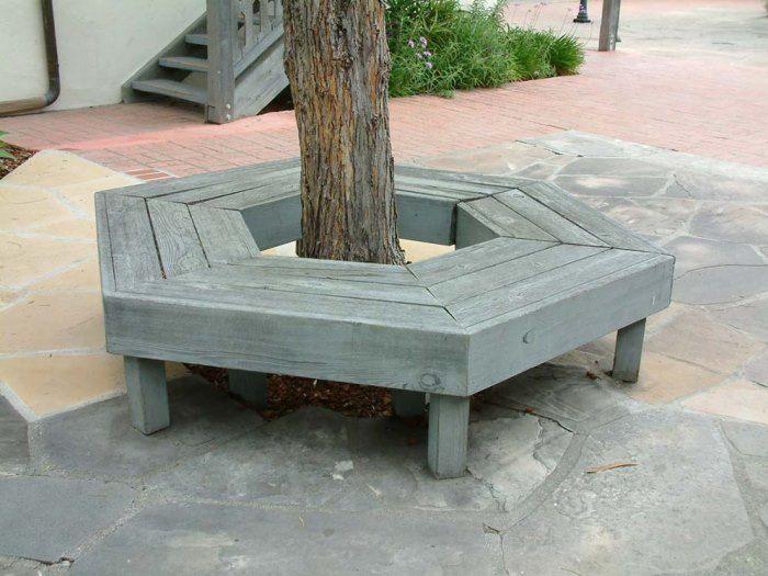 Grey Hexagonal Tree Bench Decoist Bench Around Trees