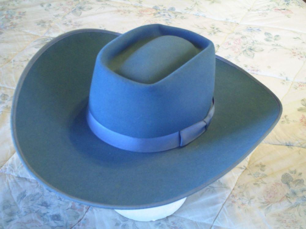 e5d1f543ddb Bailey Cowboy Hat Blue 5X 6 7 8 Retro Rodeo Beaver Fur Rogers Vintage B Bar  B