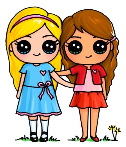 Join Anime girl best friends cartoon congratulate