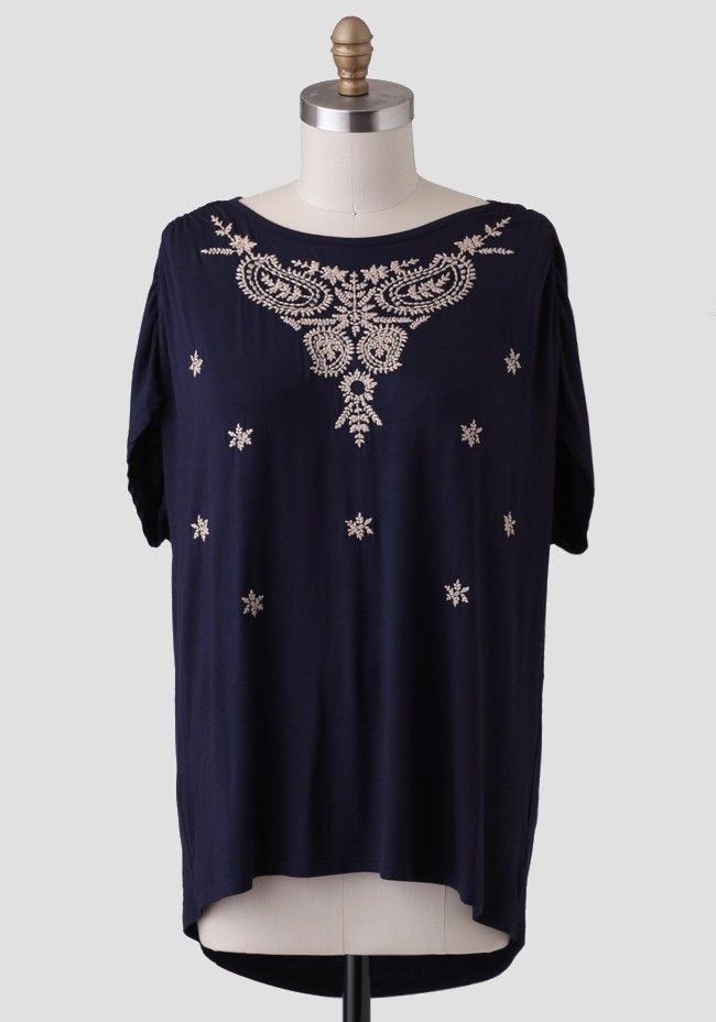 curvy plus at ruche Night Fall Curvy Plus Embroidered Blouse