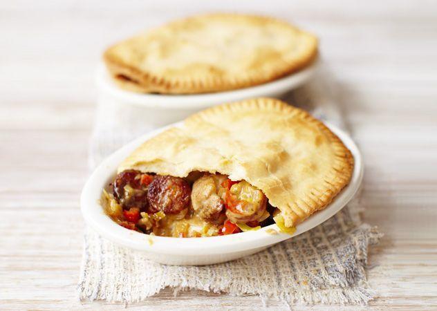 Chicken, chorizo and cider pot pies