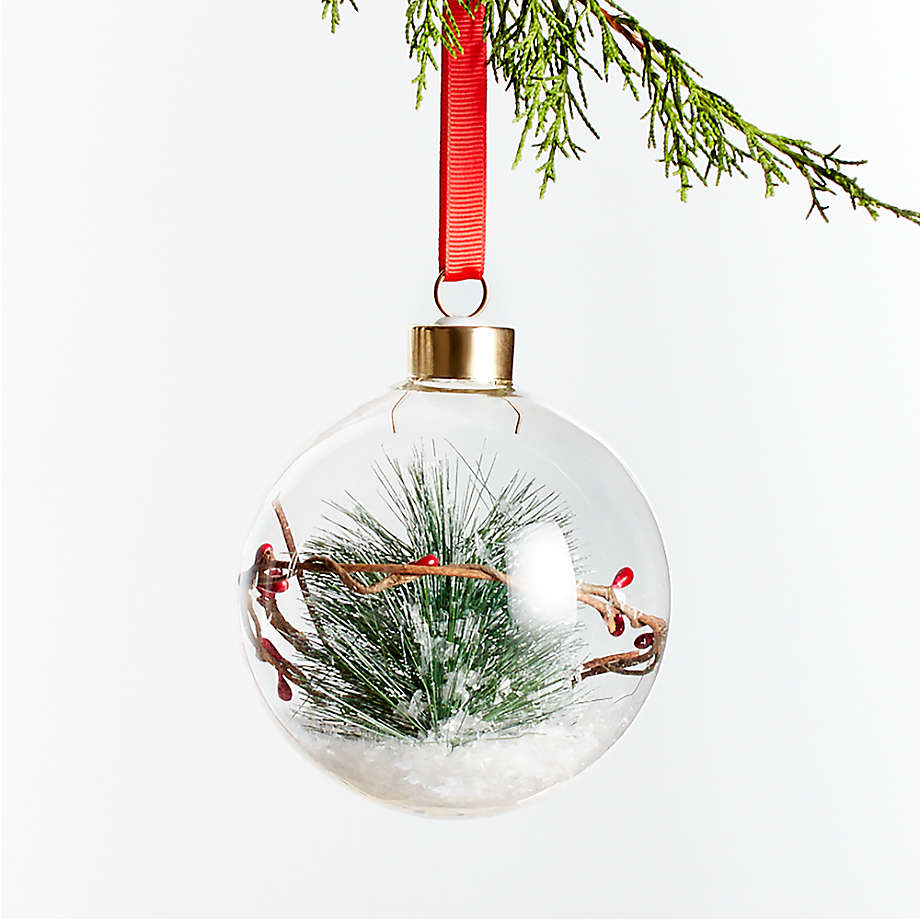 Berry Pine In Glass Ball Christmas Tree Ornament Crate And Barrel Diy Christmas Tree Ornaments Glass Ball Ornaments Cheap Christmas Gifts