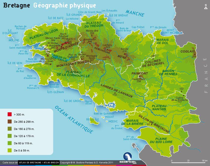 La Carte Geographique Et Physique De La Bretagne Carte Bretagne