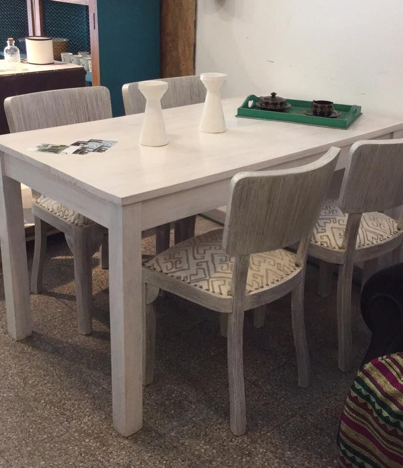 juego de comedor mesa de sillas artdeco patinadas