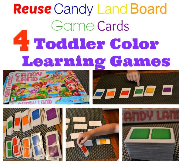 reuse candy land board game cards 4 toddler color learning games life food family - Toddler Color Games