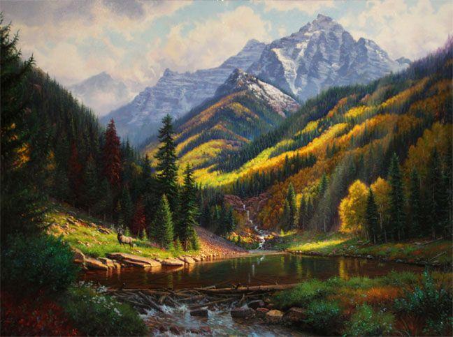 Peaceful Valley By Mark Keathley Waterfall Lake Rocky Mountains Pine Trees Golden Aspen Mountain Landscape Painting Landscape Paintings Mountain Illustration