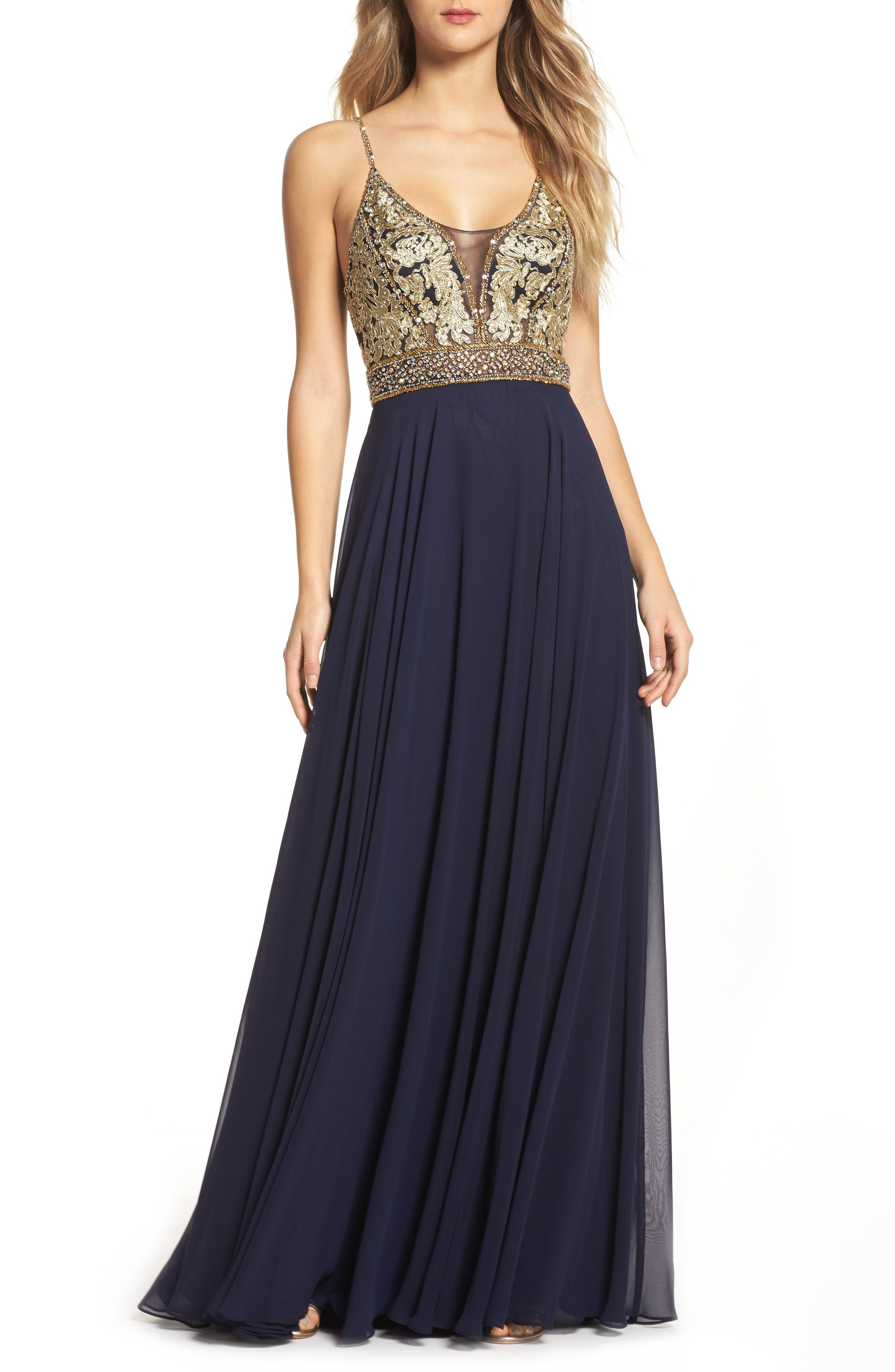Navy Blue And Gold Formal Dress For Prom Ad Promdress Gala Gowns Formal Dresses For Women Gowns